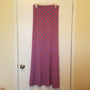 NWT'S Lularoe Hot Coral Starburst Maxi Skirt XL